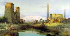 Egypt , Old Cairo Paintings: Carl Wuttke (German, 1849-1927) - The Tempel Of Karnak 1911