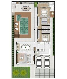 Dream House Plans, Modern House Plans, House Floor Plans, Casas The Sims Freeplay, Cottage In The Woods, Japanese House, House Layouts, Sims Cc, Plan Design