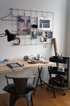 Also, by using a cart to store all the things on the desk, there's no need to have a desk with built-in storage so you can opt for a simple wall-mounted shelf or a repurposed table. -- 36 Creative Ways To Use The RÅSKOG Ikea Kitchen Cart