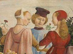 F. del Cossa, ALLEGORIA DEL MESE DI APRILE, part. 1470 circa, Affresco  palazzo…
