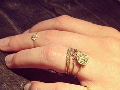 Noguchi rings @ WHITE bIRD Jewellery /stacking, branch, flower, diamond, gold..