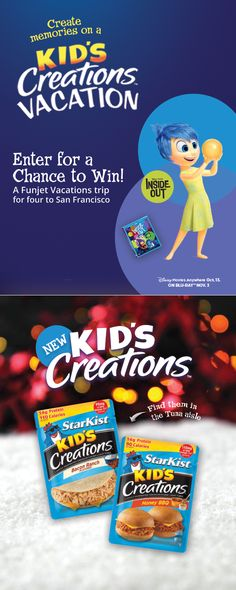 Click this picture to enter our StarKist #KidsCreations™ Vacation Sweepstakes for a chance to win a Funjet Vacations trip for four to San Francisco! Don't forget to fill your stockings with a Blu-ray copy Inside Out - available now!