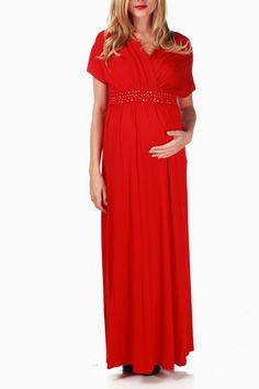 Red Jewel Accent Maternity/Nursing Maxi Dress