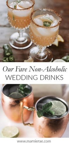 Create an inclusive wedding is by picking a signature cocktail or two that tastes JUST as good without the booze. Wedding planners, Bixby + Pine share their favorite alcoholic free wedding drinks. Non Alcoholic Drinks For Wedding, Non Alcoholic Cocktails, Party Drinks Alcohol, Drinks Alcohol Recipes, Virgin Cocktails, Easy Mocktail Recipes, Party Punch Recipes, Summer Drink Recipes, Summer Drinks