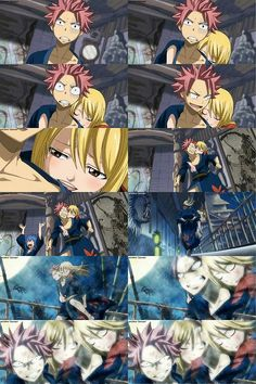 "Lucy: ""Natsus' back feels warm.""  Natsu: ""Really? That would be the flames of my anger."""
