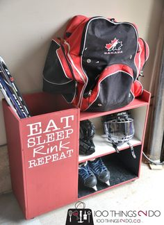 3 Shelf Utility Storage Cart Room Essentials - Storage Cart - Ideas of Storage Cart - DIY Hockey Storage Rack Storage Cart Ideas of Storage Cart Might need hubby to get creative and make two of these for the garage! Hockey Crafts, Hockey Decor, Garage Storage, Storage Rack, Storage Ideas, Diy Storage, Laundry Storage, Creative Storage, Garage Organization