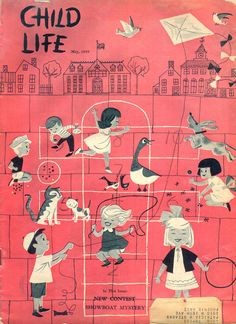 illustration for the cover of Child Life, 1959. Artist unknown. Look how children used to be depicted... #active