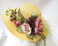 Mauve  Plum Summer Hat Garden Party Hats OOAK by Marcellefinery, $44.00