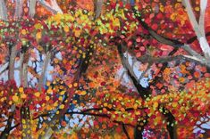 Original Tree Painting by Roz Edwards Fall Tree Painting, Large Painting, Clear Blue Sky, Yellow Leaves, Acrylic Material, Autumn Trees, Impressionism, Illusions, Saatchi Art
