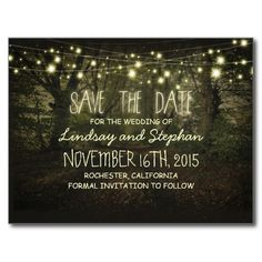 lovely and rustic save the date postcards with old trees path and string lights. Perfect save the date postcard for garden, park or forest wedding theme.Please contact me if you need help with customization or have a custom color request. --------- If you push CUSTOMIZE IT button you will be able to change the font style, color, size, move it etc. it will give you more options!