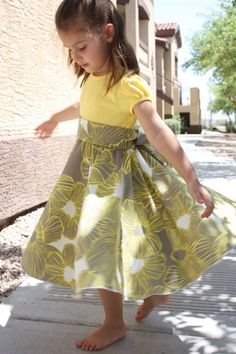 Refashioned t-shirt to twirly dress