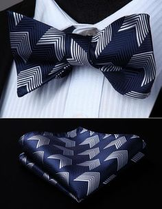 New formal Men/'s Diamond Shape Pre-tied Bow Tie /& Hankie coral black stripes