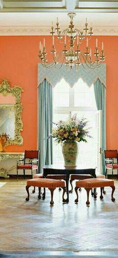 Orange Home Decor, Orange House, Formal Living Rooms, Valance Curtains, Wall Murals, Luxury Mansions, Interior Design, Villa, Sea