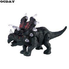 OCDAY LED Electronic Dinosaur Triceratops Toy Flashing Light+Sound+Walking Imitated Dinosaur Children Toy Birthday Surprise Gift