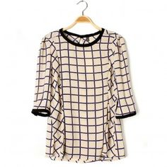 Lattice T-shirt with 3/4 Sleeves
