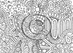 """Instant PNG Download Coloring Page Hand Drawn Zentangle Inspired Psychedelic """"Remember"""" Abstract Hippie Zendoodle Doodle By Kat on Etsy, £1.44"""