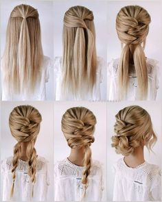 Simple Elegant Hairstyles, Easy Updo Hairstyles, Simple Wedding Hairstyles, Bride Hairstyles, Hair Updo Easy, Simple Homecoming Hairstyles, Easy Hairstyles For Work, Updo Diy, Office Hairstyles