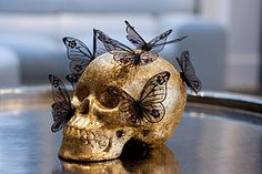23.Five Ct Gold Leaf Decorative Skull - decorative accessories