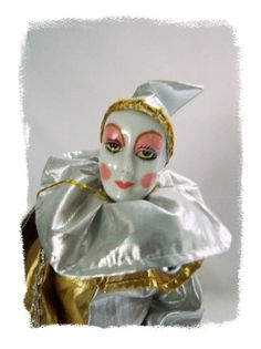 Seymour Mann Clown Porcelain Doll Bisque Jester Tag Seal 1985 Vintage #Dolls