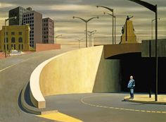 Jeffrey Smart's 1962 painting Cahill Expressway has a Hitchcockesque character standing below the expressway. It could be the character, the muted tones, or a combination of the two but I really find this picture quite eerie. It allows the mind to wander and wonder what is a afoot. I love it.