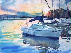 Watercolour painting of sailing boats moored at Zanka, on Lake Balaton at sunset. Watercolor Postcard, Watercolor Print, Watercolour Painting, Watercolors, Watercolor Landscape, Landscape Paintings, Landscapes, Italian Water, England Winter