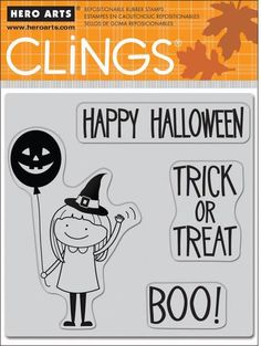 Girl with Balloon (Halloween) - Cling Rubber Stamp