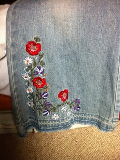 Sale Vintage Floral Embroidered Flared Jeans Hipsters Boho