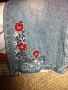 Sale! Vintage Floral geborduurd laaide Jeans Hipsters Boho Hippie xxs-xs