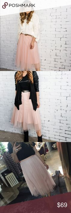 Pink tulle skirt 2 layer tulle skirt with lining. MIDI length.  invisible side zipper. 100% polyester. Perfect to wear with a sweater, bodysuit, or t-shirt. Super cute! Fits true to size, wearing a small. Fits a little below natural waist. Ark & Co Skirts Midi