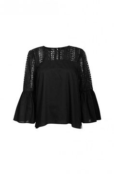 LACE TRIM TOP - Clothing