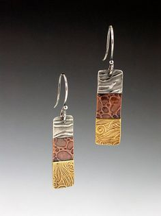 Patchwork Mixed Metal Earrings  small by MicheleGradyDesigns, $54.00
