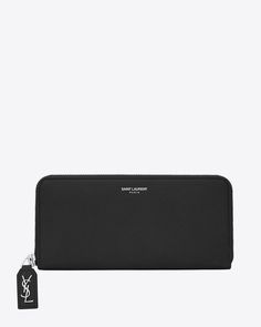 Saint Laurent Classic Rive Gauche zip around wallet with monogrammed pull in black grained leather