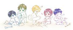 Free! ~~ Chibis at the beach. :: Haruka, Makoto, Nagisa, Rin, and Rei. ::: In my imagination, somewhere else, Aiichiro, Momotarou, and Sosuke are playing in the sand, too.