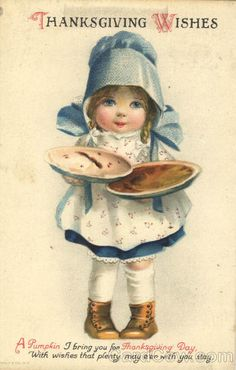 Clapsaddle: Thanksgiving Wishes - Cute Little Girl