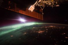 "Aurora in early morning on Earth's horizon (NASA astronaut Scott Kelly captured this photograph of the green lights of the aurora from the International Space Station on Oct. 7, 2015. Sharing with his social media followers, Kelly wrote, ""The daily morning dose of #aurora to help wake you up. #GoodMorning from @Space_Station! #YearInSpace"")"