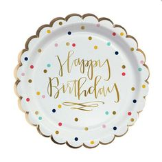 Happy Birthday to you! Or your friend, relative, co-worker...really these gold foil confetti happy birthday plates are perfect for celebrating anyone's birthday!