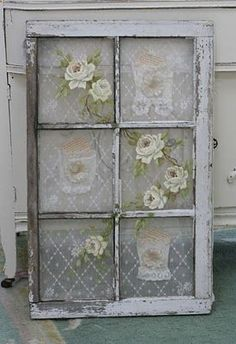 Add lace and roses flowers to vintage old salvaged window for shabby cottage style home decor look or for wedding reception decoration; upcycle, recycle, salvage, diy, repurpose! For ideas and goods shop at Estate ReSale & ReDesign, Bonita Springs, FL