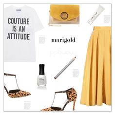 """""""Marigold : Stay Golden Girl."""" by arohii ❤ liked on Polyvore featuring Moschino, Halston Heritage, Gucci, Roksanda, Laura Mercier, Charlotte Russe, NYDG and marigold"""