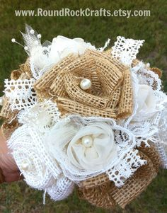 This listing is for one custom Burlap Bouquet measuring approximately 7 wide. (about roses altogether) This bouquet is made with Natural and Burlap Bouquet, Burlap Flowers, Fake Flowers, Diy Flowers, Fabric Flowers, Boquet, White Flowers, Diy Wedding Bouquet, Rock Crafts