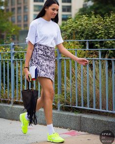 Love this printed skirt and athletic shoe combination.