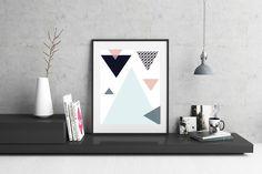 Geometric Wall Art / Triangle Print / Blue Print / Pink Print / House Decor / Wall Print by CatherineElizabeth8 on Etsy