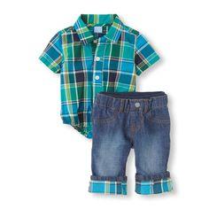 Plaid Bodysuit & Jeans Set