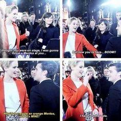 Jennifer Lawrence and Josh Hutcherson. They're so cute :)