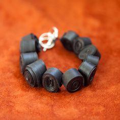 Rolled Bike Tube Bracelet. $30.00, via Etsy.