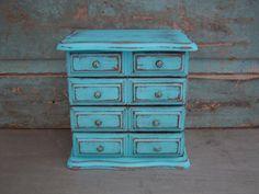 Turquoise Jewelry Box Music Box Distressed Wood $28