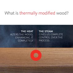 Thermally modified wood is real wood that's modified using only heat and steam to alter the cellular structure and result in boards that are rot resistant to the core, with a high degree of dimensional stability. This process is 100% clean, meaning that not only is the modification process totally free of harmful chemicals, but eventual disposal of the boards creates no additional environmental impact. Modernism Week, Sustainable Energy, Architecture Student, Alters, Real Wood, Meant To Be, Learning, Natural Products, Plywood