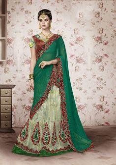 Green Net Designer Lehenga Saree 61209