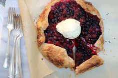 Raspberry-Saskatoon Galette - an easy, summery free-form pie that's the very best vehicle for ice cream.