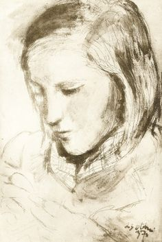 Pablo Picasso  girl looking down, 1937  scanned from the book: Great Draughtsmen from Pisanello to Picasso