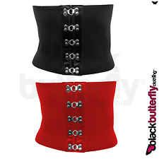 BLACK RED WIDE ELASTIC WASPIE CORSET WAIST BELT SIZE 6 - 16